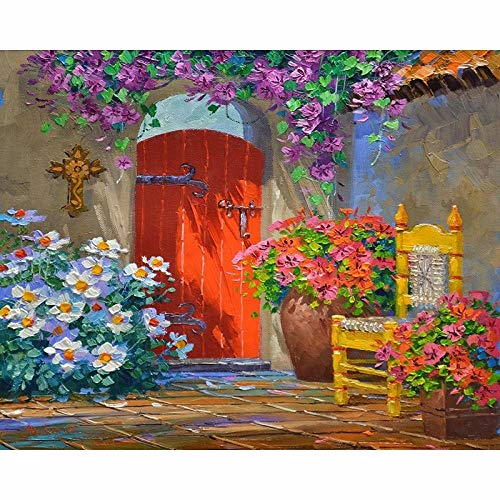 WSLMR Home Scenery Floral Garden 5D Diamond Painting Cross Ctitch Kit Wall Sticker Mosaic Diamond Embroidery Painting (12x16inch/30x40cm) Without Frame