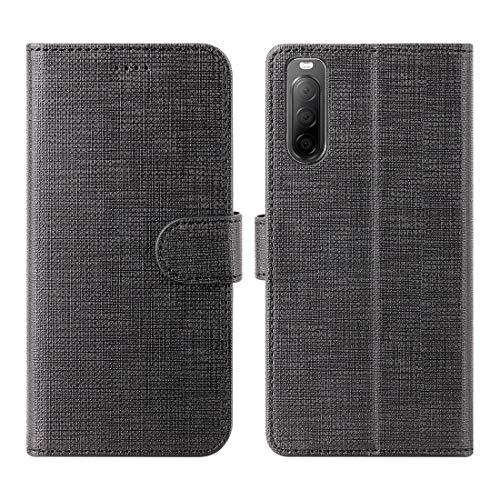 Foluu Schutzhülle für Sony Xperia 10 II, Brieftaschen-Schutzhülle, Kartenhalter, Leinen, Flip-Hülle, weiche TPU-Schutzhülle mit Ständer, ultradünn, starker Magnetverschluss für Sony Xperia 10 II