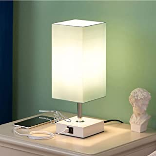 Touch Bedside Lamp with USB Ports, Aooshine Modern Teal Aqua Table Lamp with 2 USB Quick Charging Ports, 3 Way Dimmable La...