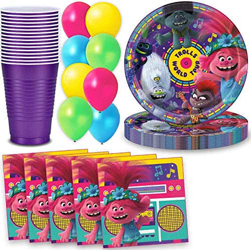 Why Choose Trolls Party Supplies for 40 - Large Plates, Napkins, Cups, Balloons - Great Birthday and...