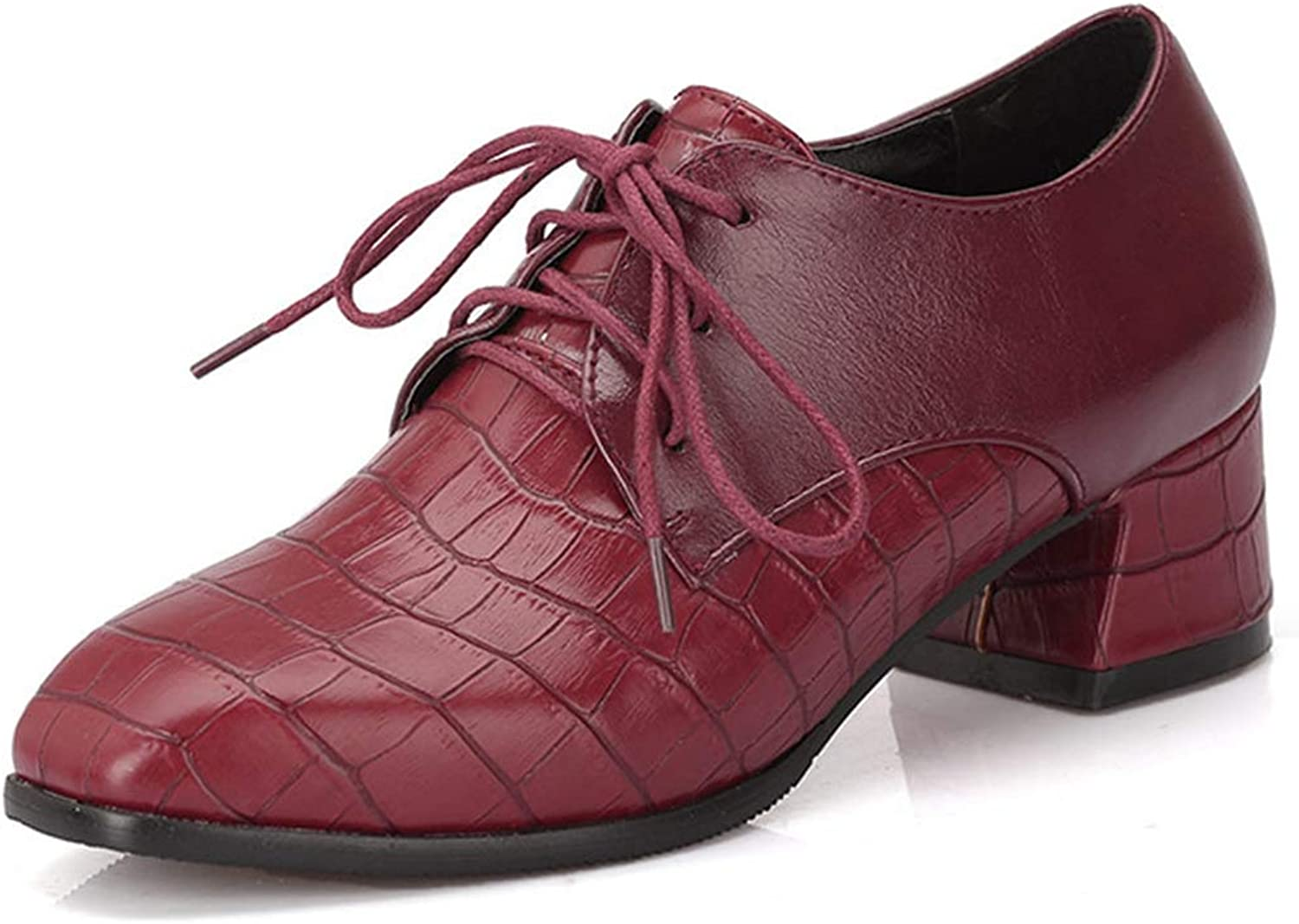 GIY Womens Platform Oxfords Lace-up Dress Pumps Loafers Vintage Handmade Mid Block Heel shoes