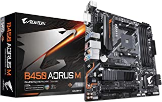 Gigabyte B450 AORUS M AMD Ryzen Gen3 AM4 mATX Motherboard 4xDDR4 3xPCIE 1xM.2 DVI HDMI RAID GbE LAN 6xSATA 8xUSB3.1 CF RGB