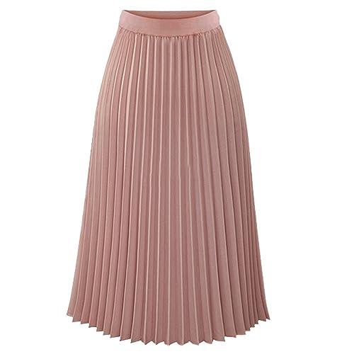 ae9c8708ad TEERFU Womens Ladies Summer Boho Pleated Skirt A-line Midi Skirts