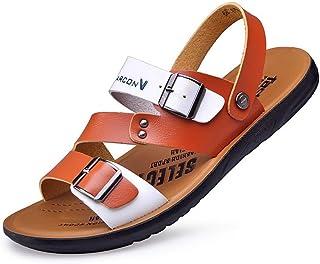Hombres Playa Sandalias Zapatillas de Cuero Anti Slip Abierto Zapatos Casuales de Verano Desgaste Calzado de Agua Resistente para Actividades al Aire Libre