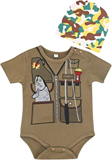 FANCYBABY Baby Boy Fisher Fishing Hunter Camouflage Hat Cap Romper Top Shirt Set Outfit