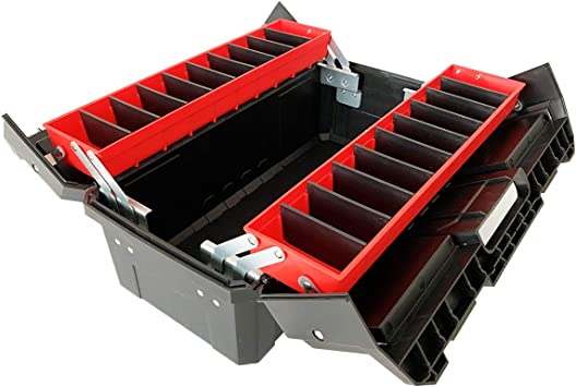 """WEWLINE 18.5"""" Portable Tool Box,Multi-Function Thick Plastic Storage Box with Organizer Tray and Divider,Folding Double Clamshell Tools Container Perfect for Home Office Garge: image"""