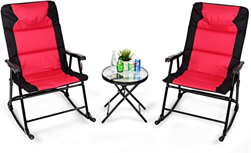popular Giantex discount 3 PCS Folding Bistro Set Outdoor Patio Rocking Chairs Round Table Set 2 Rocking Chairs w/Glass Coffee Table for Yard, Patio, online sale Deck, Backyard Padded Seat (Red & Black) online