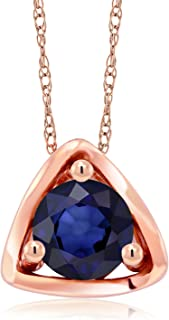 Gem Stone King 10K Rose Gold 0.50 Ct Round Blue Sapphire Gemstone Birthstone Pendant Necklace with 18 Inch Chain