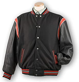 Burk's Bay Varsity Letterman's Wool and Leather Jacket | Baseball Jacket Reversible- Men's
