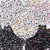 Cheriswelry 1000 cuentas de acrílico con forma de corazón y alfabeto de 5 estilos de corazón con espaciador de letras A-Z para hacer pulseras de joyería