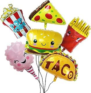Globos de Decoración para Fiesta,Paquete de Snacks con Pizza,Palomitas,Hamburguesa,Patata Fritas,Helado,Taco.Tema Yummy para Cumpleaños Etc.