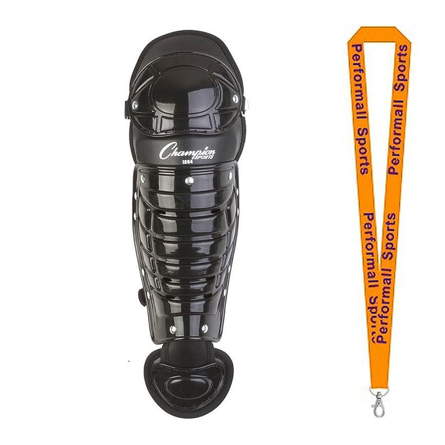 上向きホテル蜜Championスポーツ野球Single Knee Shinguardブラック( 1-pair ) with 1?performall Lanyard lg84bk-1p