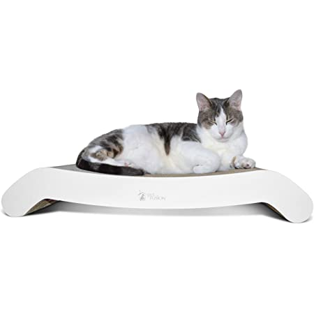 "PetFusion Cat Scratcher FLIP Lounge. [Reversible and @ 27"" fits Even The Largest Cats, White, Large, Model Number: PF-CLS2"