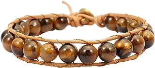 TUMBEELLUWA حجر الخرز سوار منسوج مع حبل جلد نمط بوهيمي شفاء كريستال مجوهرات يدوية للنساء الرجال