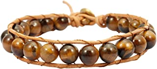 TUMBEELLUWA Stone Beads Bracelet Woven with Leather Cord Bohemian Style Healing Crystal Handmade Jewelry for Women Men