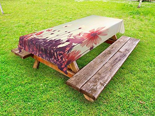 ABAKUHAUS Bloemen Tafelkleed voor Buitengebruik, Vintage Cosmos Plant Sky, Decoratief Wasbaar Tafelkleed voor Picknicktafel, 58 x 84 cm, Sky Blue en Dark Coral