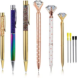 GYORGKSHI 6PCS Crystal Diamond Ballpoint Pen Bling Metal Ballpoint Pen Office Supplies for Women,Coworkers,Hostess and Girlfriend,Christmas Gifts for Women