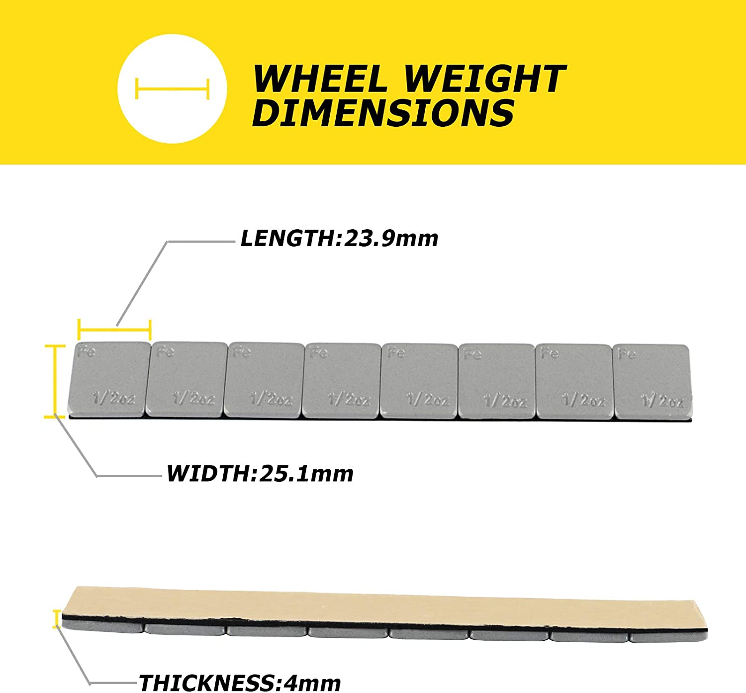 288pcs and Others Trucks 0.25 Ounce Stick on Wheel Weights for Cars Motorcycle with Strong Black Adhesive 72 oz//Box SUVs Rying Wheel Weights Gray 1//4oz