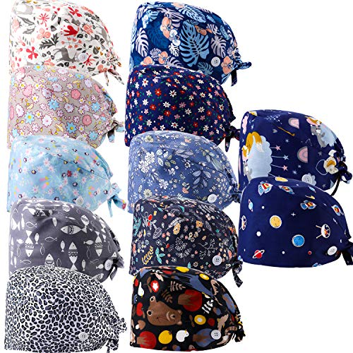 12 Pieces Women Working Caps with Buttons and Sweatband Adjustable Bouffant Hats Unisex Tie Back Hats Disposable Surgical Caps Beanie Headband Medical Head Face Mask for Nurse