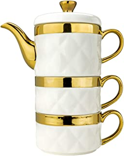 Yedi YCC734, Ceramic Tea For Two Set with Gold Design, Quilted Collection Porcelain Teapot and Cups, 12 Oz Tea Pot w/Lid & 2 x 6 Oz TeaCups