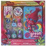 Townley Girl Dreamworks Trolls Nail Design Set, 5 polishes, 2 glitter pots, 240 nail gems, file, stencil & bag