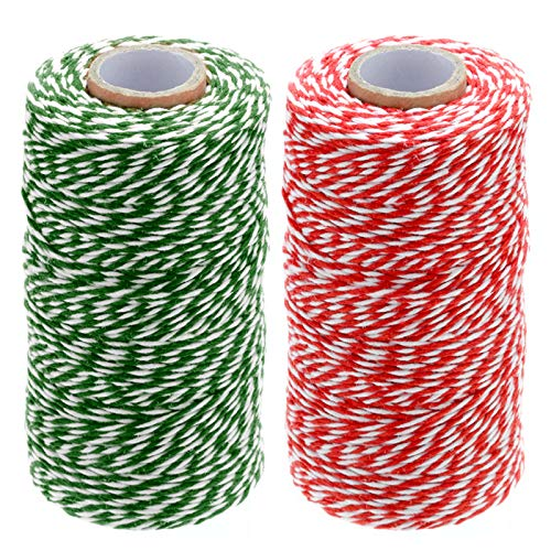 656 Feet Christmas Twine Cotton String Rope Cord for Gift Wrapping, Arts Crafts Twine,Green and White Twine,Red and White Twine