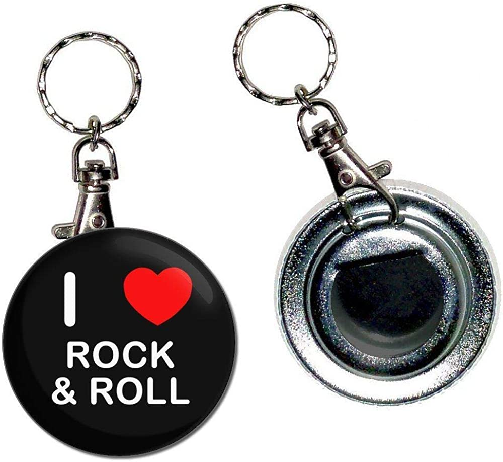 I Love Rock and Roll - 55mm Button Badge Bottle Opener Key Ring