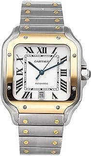 Santos Reloj automático plateado con esfera de acero y oro amarillo de 18 quilates para hombre W2SA0006