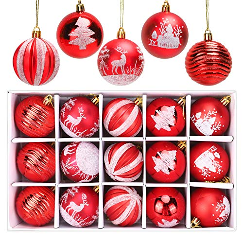 ANWING 15ct Christmas Ball Ornaments Set-Glitter Swirl Design, 2.36' Shatterproof Decorative Tree Xmas Balls Baubles Perfect for Holiday Wedding Party Xmas Decoration (Red)