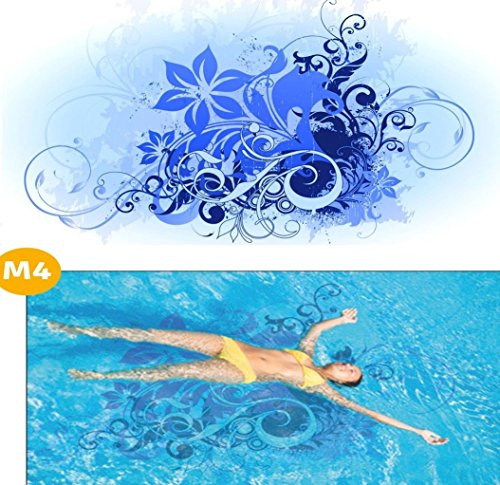Design Skins Pool * Bodenmatte Swimmingpool * Dekoration Poolboden * M4 Blumen * 120 x 250 cm
