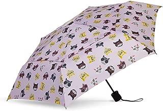 WindPro Vented Fashion Auto Open & Close Compact Wind Umbrella: Hip Cat Pink