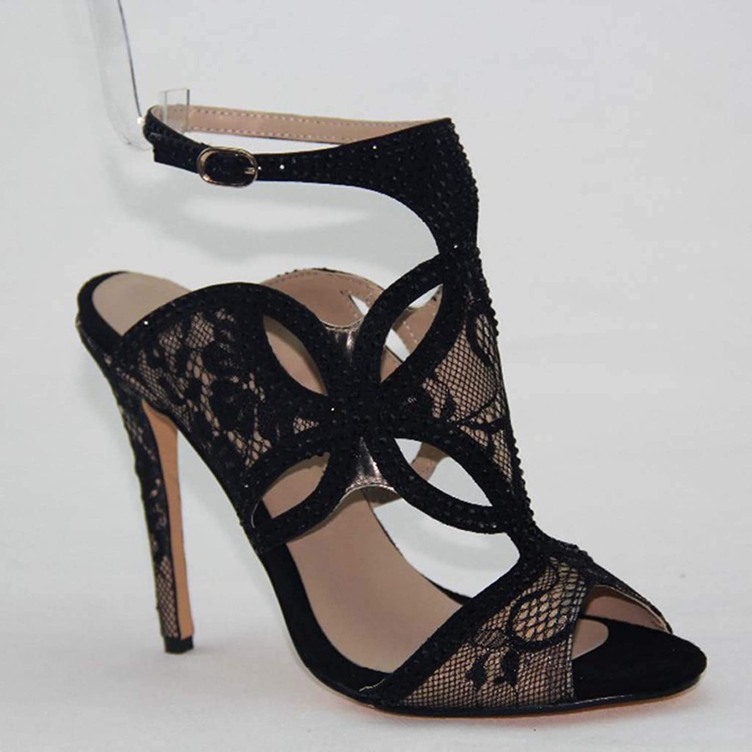 Black lace high Heel Women's Sandals Hollow Fish Mouth Dew with Sandals
