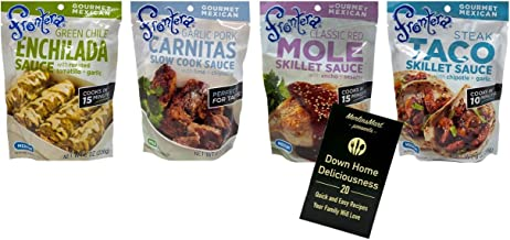 Frontera Gourmet Mexican Simmer Sauce 4 Flavor Variety Plus Recipe Booklet Bundle, 1 each: Green Enchilada, Steak Taco, Classic Red Chile Mole, Garlic Pork Carnitas, 8 Oz. Ea. (4 Pouches Total)