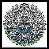 Zenbroidery Tela Impresa Kit de Bordado Mandala, algodón, Color Blanco