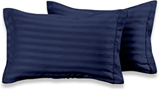 Cloth Fusion Satin Stripe 210 TC Cotton Pillow Cover Set of 2 (18 x 27 Inches - Navy Blue)