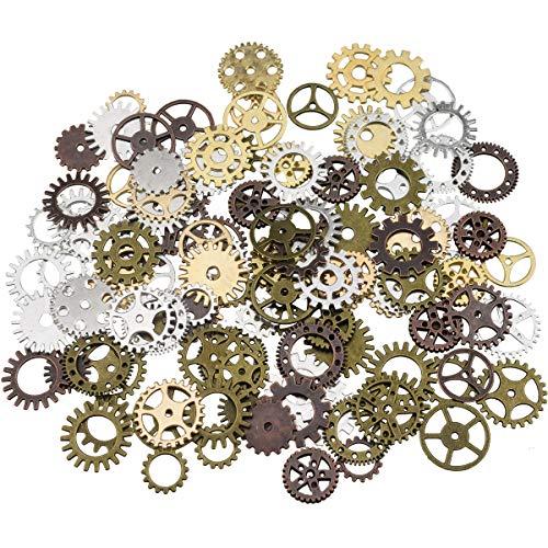 XONOR Verschiedene antike Steampunk Gears Charms Anhänger Uhr Rad für Handwerk, DIY gemischte Farben (100 Gramm)