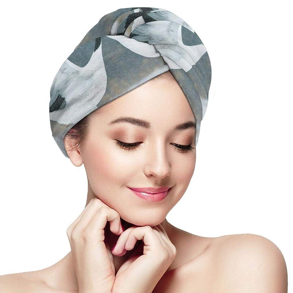 ねじれ消化スクリーチSonghe 6マイクロファイバーヘアタオルラップ超吸収性ツイストターバンボタン付き高速乾燥ヘアキャップバスループは、乾燥した髪の帽子を留める