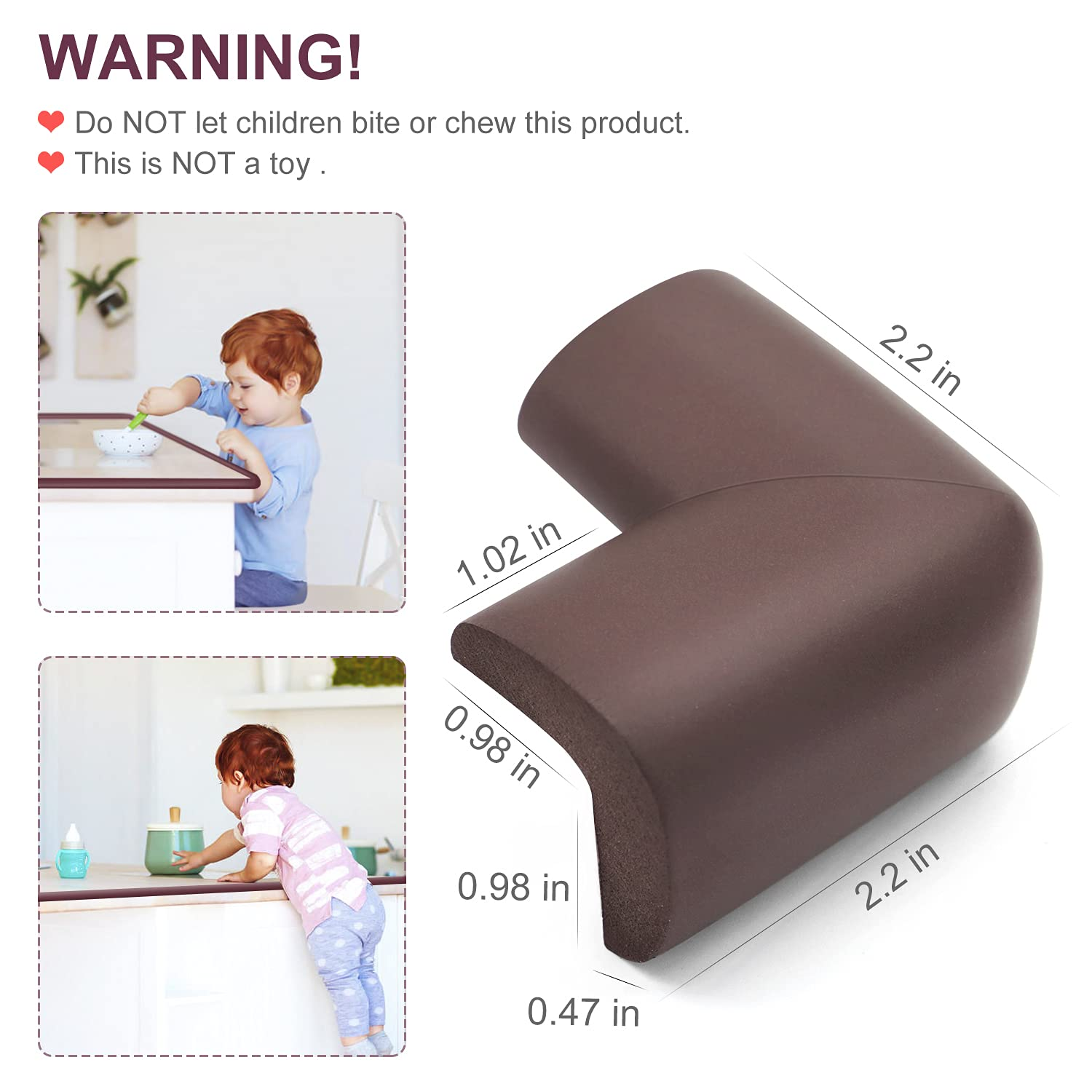 Baby Proofing Edge Corner Protector, 20.5 ft (18.1ft Edge + 8 Corners) Baby Proof Corner Guards ,Thick Table Bumper Guard, 3M Pre-Taped Corners, Soft Rubber Foam Guard Heavy-Duty