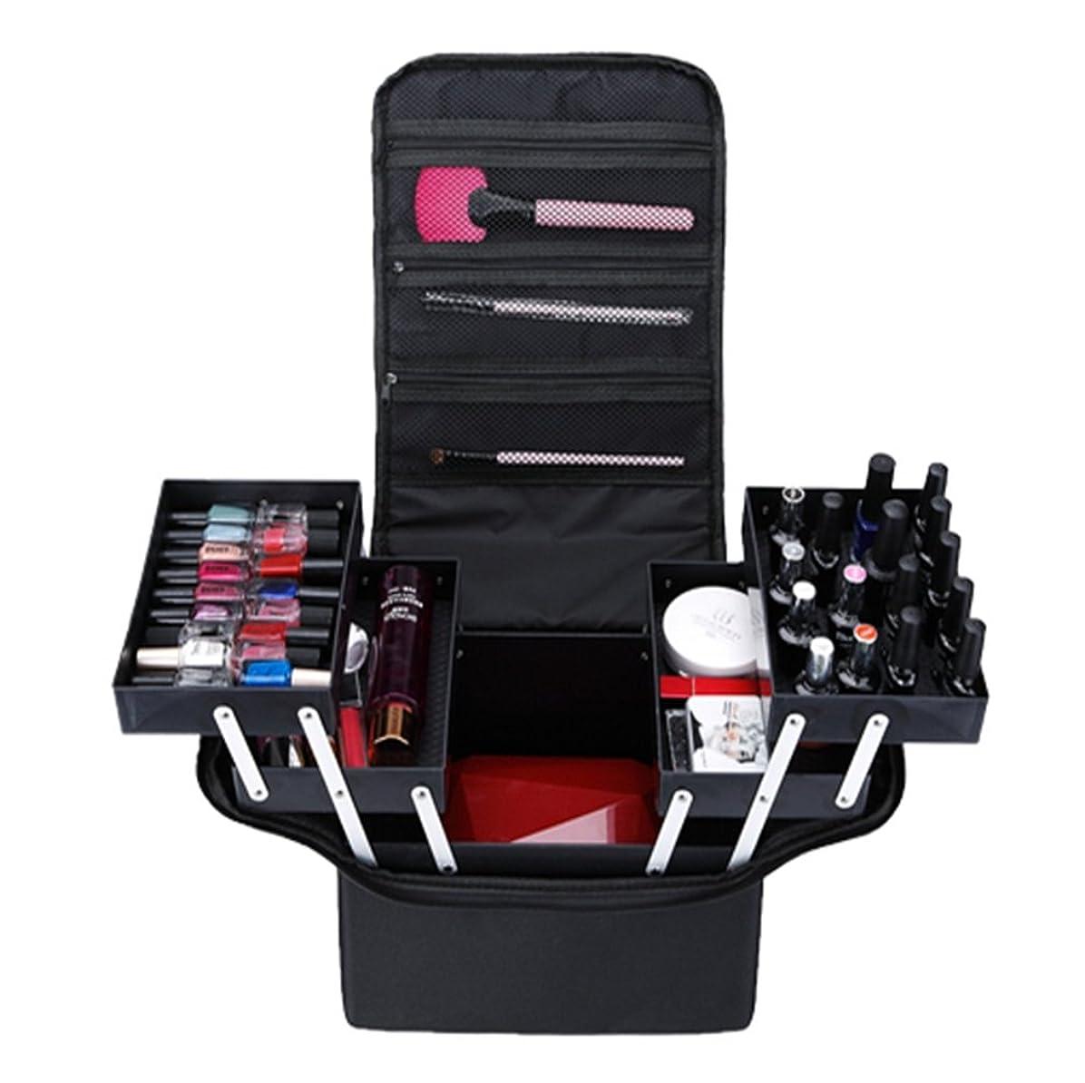 ピクニックマニフェスト必須「XINXIKEJI」メイクボックス コスメボックス ネイルボックス 2段 大容量 機内持ち込み可 洗える 肩掛け 化粧ボックス スプロも納得 収納力抜群 かわいい 祝日プレゼント 取っ手付 コスメBOXブラック