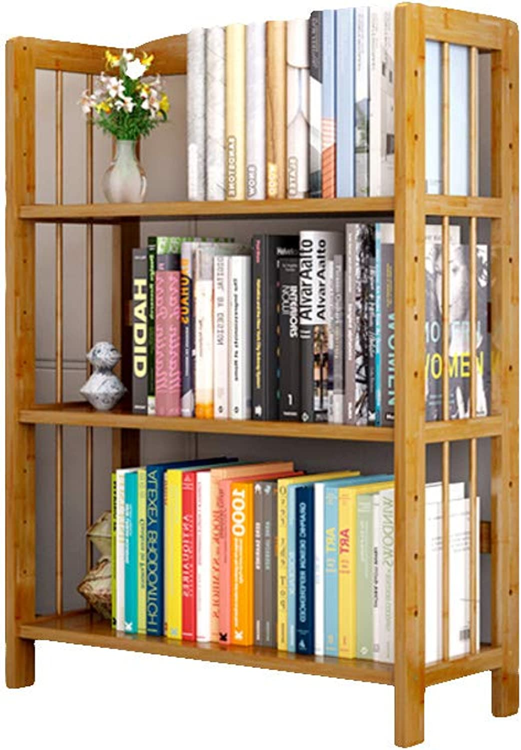 Fashion Simple Bamboo Bookshelf, Multi-Layer Open-Plan Shelves for Placing Office Supplies Documents Books Plants in Home Kitchen-A 50X26X98cm