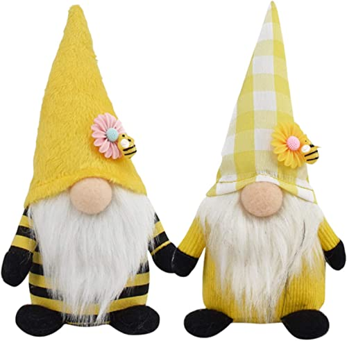 new arrival Bumble Bee Gnome Plush Decor Scandinavian Tomte Dwarf Swedish Figurines Bee discount Gnome Plush Toy sale Home Farmhouse Kitchen Decor Bee Party Gift Birthday Present Tiered Tray Decoration Ornaments Set of 2 online sale