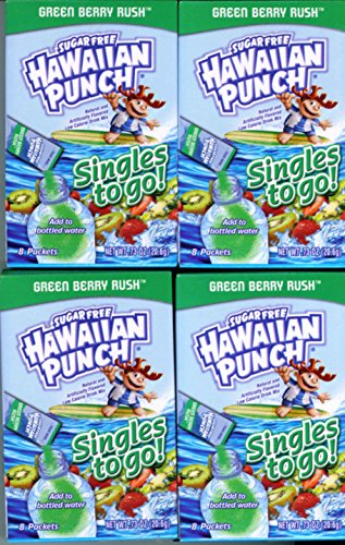 Hawaiian Punch GREEN BERRY RUSH Singles to Go (4 Boxes of 8 Packets in Each Box)
