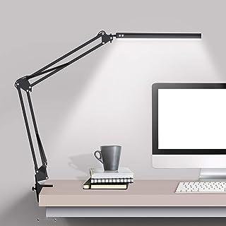 چراغ رومیزی LED با گیره ، چراغ میز بازویی Swing Arm ، میز قابل تنظیم نور میز مراقبت از چشم (3 حالت رنگی ، کم نور 10 سطح ، مراقبت از چشم) برای مطالعه ، مطالعه ، خانه ، دفتر ، خوابگاه ها ، کارگاه ها ، استودیو