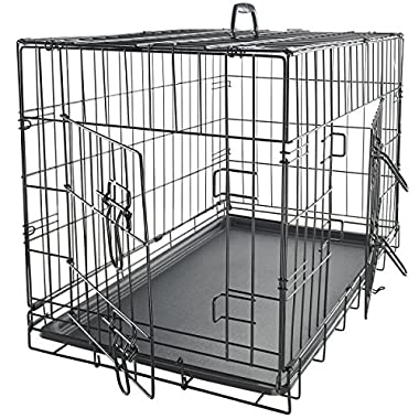 Paws & Pals 24  Medium Dog Crate, Double-Doors Folding Metal w/ Divider & Tray   24  x 16  x 20    2016 Newly Designed Model