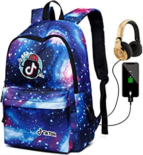 xxLvOG Mochila TIK tok, Mochila para niña Cielo Estrellado con Cargador USB-blue4_17.3in * 11.8in * 5.7in