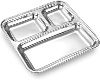 Garden Of Arts Heavy Duty Stainless Steel Square Small Dinner Plate with 3 Sections Divided Mess Trays for Kids Lunch, Cam...