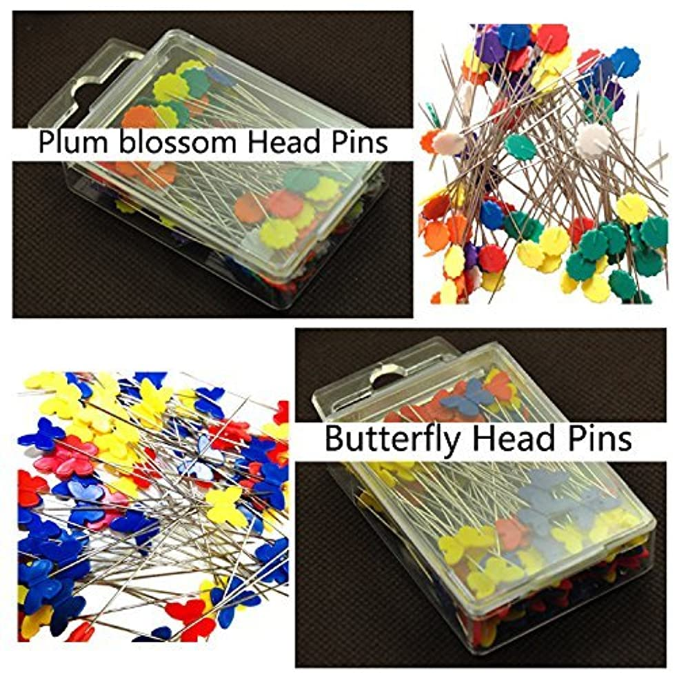 Kelier Multi Color Plum Blossom Head Pins Butterfly Head Straight Pins Set of 2,A total of 200-Count