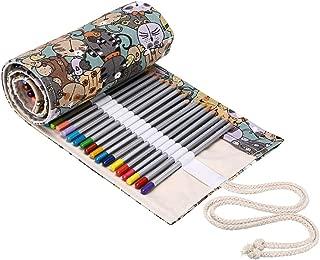 BTSKY Canvas Colored Pencil Roll Wrap Adult Coloring Pencil Holder Organizer for Colored Pencils, NO Pencils (72 Slots, Cat)