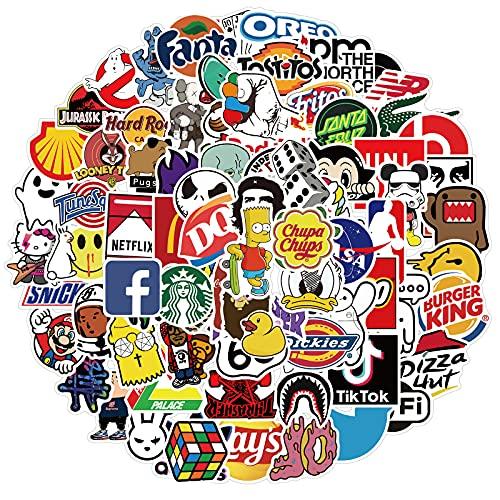 HuanTai Coole Marke Stickers für Erwachsene Teens Kinder-101 Pack Vinyl-Aufkleber für Laptop-Computer-Skateboard-Wasserflaschen Auto-Fahrradhelm Telefon