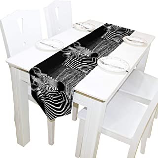AUUXVA 13x70 inches Long Table Runner African Zebra Print Decorative Polyester Table Runners Tablelcoth for Home Coffee Kitchen Dining Table Party Banquet Holiday Decoration